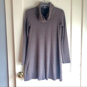 Socialite Brown Turtleneck Ribbed Sweater Dress